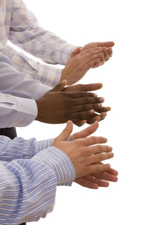 multiracial hands gesturing together isolated on white (selective focus) Stock Photo
