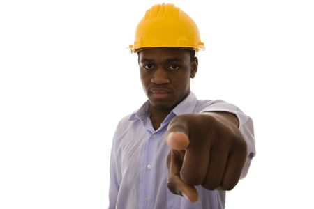 african engineer pointing to you (selective focus) Stock Photo - 4290293