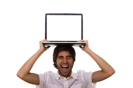stressed young man with a laptop on his head Stock Photo - 4332676