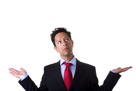 businessman with arms up and open hands looking to the copypace (isolated on white) photo