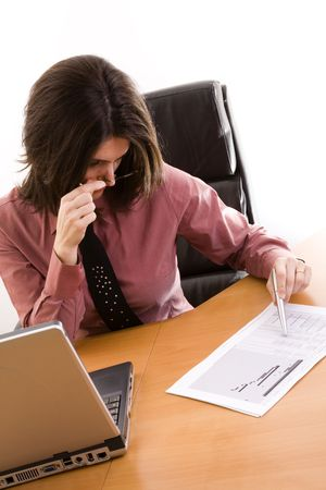 businesswoman analyzing the business project at the office desk Stock Photo - 4386806