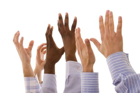 african solidarity: multiracial hands gesturing together (isolated on white) Stock Photo