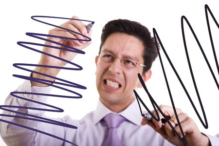 gone: businessman gone crazy drawing lines in the whiteboard (selective focus) Stock Photo