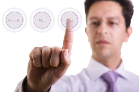 a businessman pressing the YES hi-tech button  photo