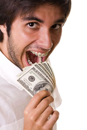 buck teeth: mouth with braces on the teeth eating money (isolated on withe) Stock Photo
