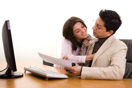 businesswoman harassment at her partner in a sexual way