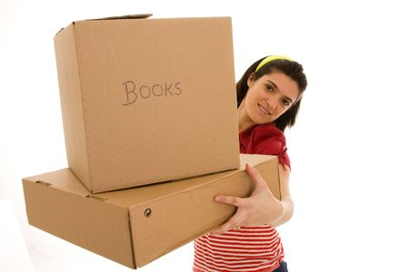house moving: woman with packages for house moving (isolated on white)