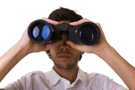 see  visionary: businessman looking with his binocular to the copy space