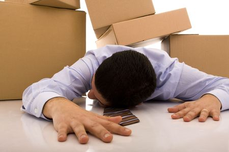 accident with some businessman carrying a pile of cardboard boxes Stock Photo - 4496141
