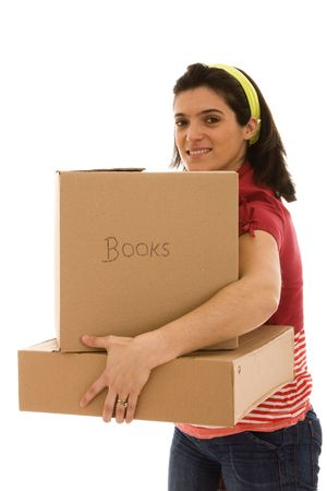 woman with packages for house moving (isolated on white) Stock Photo - 4496131
