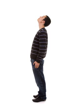 look up: young man standing with his head looking up (isolated on white)
