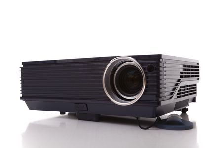 professional digital projector isolated on white (selective focus) Stock Photo