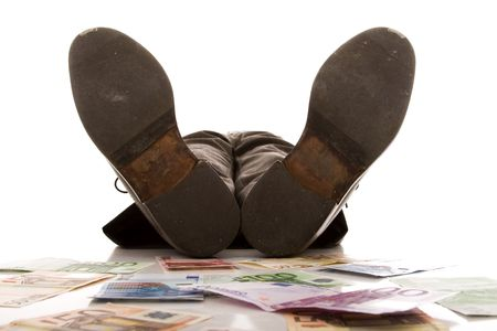 rich businessman relaxing over a lot of money (selective focus) Stock Photo - 4756305