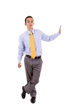 businessman leaning over the copyspace (isolated on white) photo