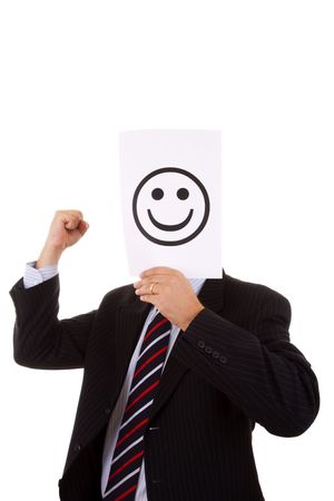 untrustworthy: hypocrite businessman hiding behind a big smile symbol Stock Photo
