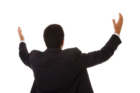 businessman back praying with his arms up photo