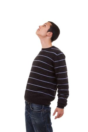 see side: young man standing with his head looking up (isolated on white)