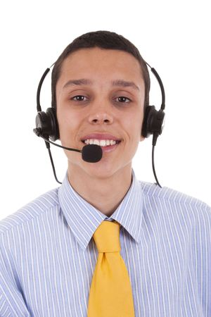 young businessman from a helpdesk service (isolated on white) photo
