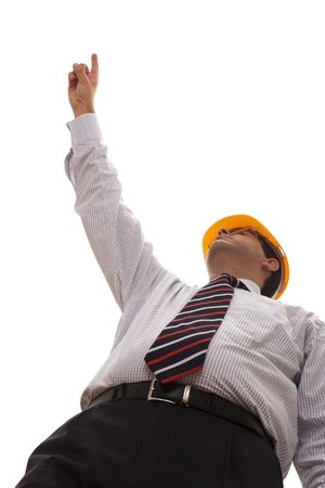 businessman engineer pointing to the copyspace (selective focus) photo