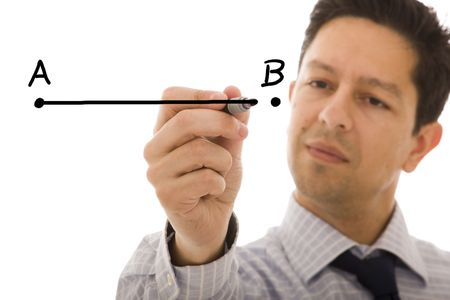 work flow: businessman drawing a line from point A to point B (selective focus) Stock Photo