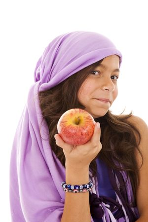 ten year beauty girl offering a red apple  (selective focus) Stock Photo - 5109357