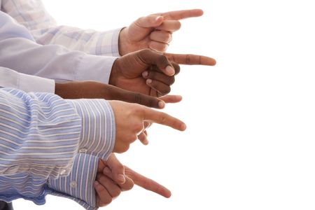 multiracial hands gesturing together (isolated on white) photo