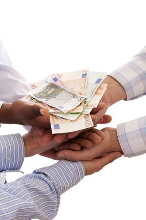 multiracial hands united to receive the money (isolated on white) photo