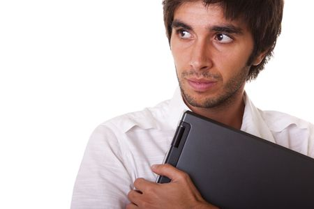 man holding a laptop (looking to the copy space) photo