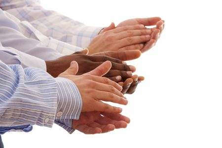 community recognition: multiracial hands clapping together isolated on white (selective focus)