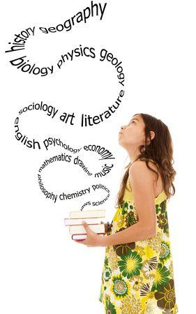 sociologia: diez a�os el pensamiento hermoso de todas las cosas nuevas que va a aprender Foto de archivo