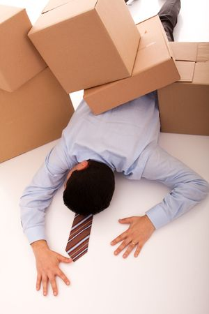 accident with some businessman carrying a pile of cardboard boxes Stock Photo - 5465453