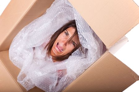 trapped: woman face inside a cardboard box screaming