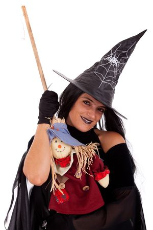 sexy funny: Halloween witch (isolated on white)