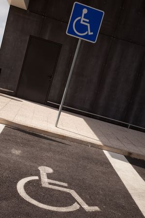 reserved space for parking to disabled people photo