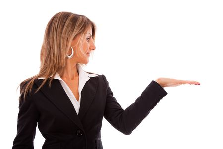 businesswoman withe her hand showing something in the copyspace (isolated on white) photo