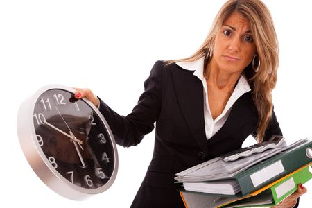 businesswoman holding a lot of folders and looking to time (isolated on white) Stock Photo - 5749397
