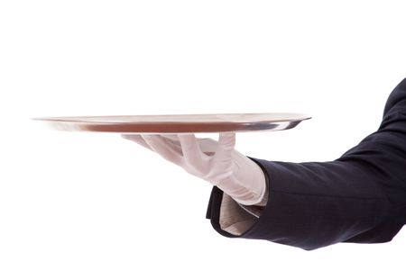 formal waiter with a tray (isolated on white) photo