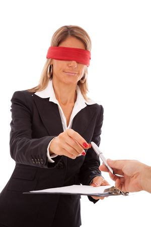 paranoia: blindfold businesswoman signing a contract (isolated on white) Stock Photo