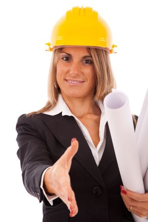 businesswoman with blueprint projects and a construction helmet (isolated on white) Stock Photo - 5802694