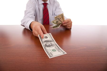 businessman at the office giving money Stock Photo - 5779678