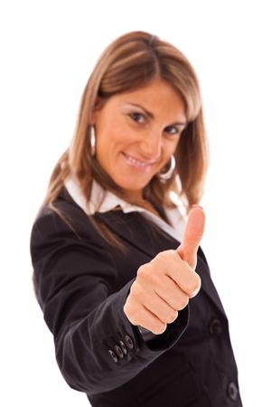 businesswoman gesturing OK with her hand (selective focus on the hand) Stock Photo - 5885641