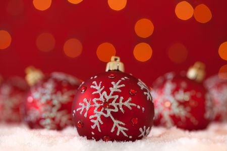 christmas ornament background (VERY SHALLOW DEPTH) Stock Photo - 5827046