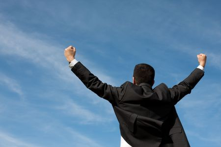 businessman showing his success at the field Stock Photo - 5826939