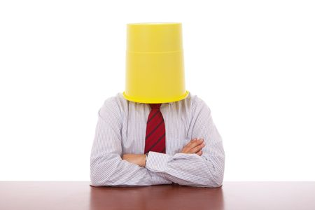 businessman with a bucket on his head Stock Photo - 5922439