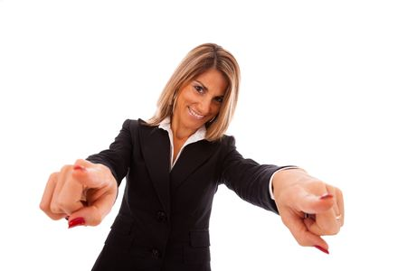 happy businesswoman pointing to you (isolated on white) Stock Photo - 5931678