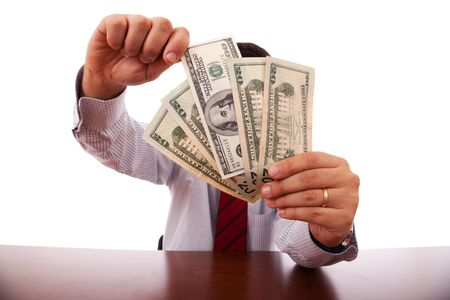 businessman at the office giving money photo