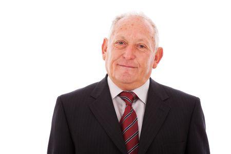 Senior businessman smiling (isolated on white) photo