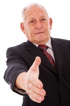 senior businessman making a deal with you (isolated on white) Stock Photo - 5978977