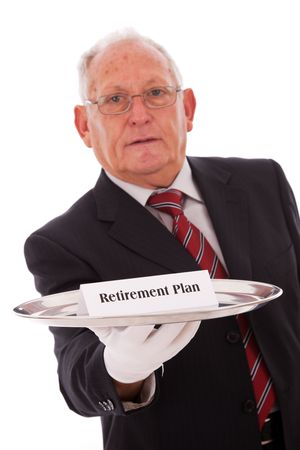 Senior businessman offering you the best solution for a retirement plan photo