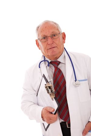 expertise doctor older man isolated on white Stock Photo - 5978941